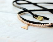 Wraplet - Choker - Black Suede - Champagne Gemstone - Triangle Charm