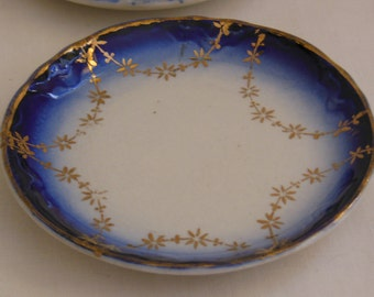 6 Antique Flow Blue Butter Pats Cobalt Blue edge w/gold flower swags set of 6 butter pat dishes offers considered