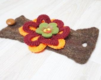 Felted bracelet wrist cuff arm warmer beaded flower floral botanical free form green burgundy brown orange crochet beaded fall autumn ooak
