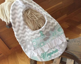 Personalized baby bib.  Baby girl's bib.  Lacey bib.  Blue and grey bib.