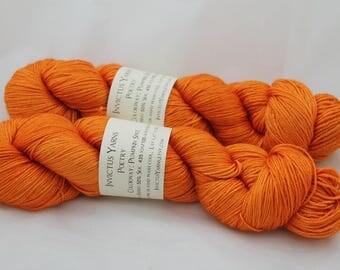 Pumpkin Spice Poetry 50/50 SW merino/silk fingering weight yarn