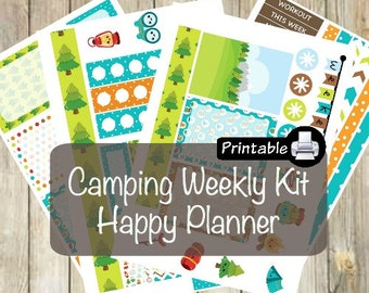 Printable HAPPY Planner Camping Weekly Kit- Tent Campfire Marshmallows Camper