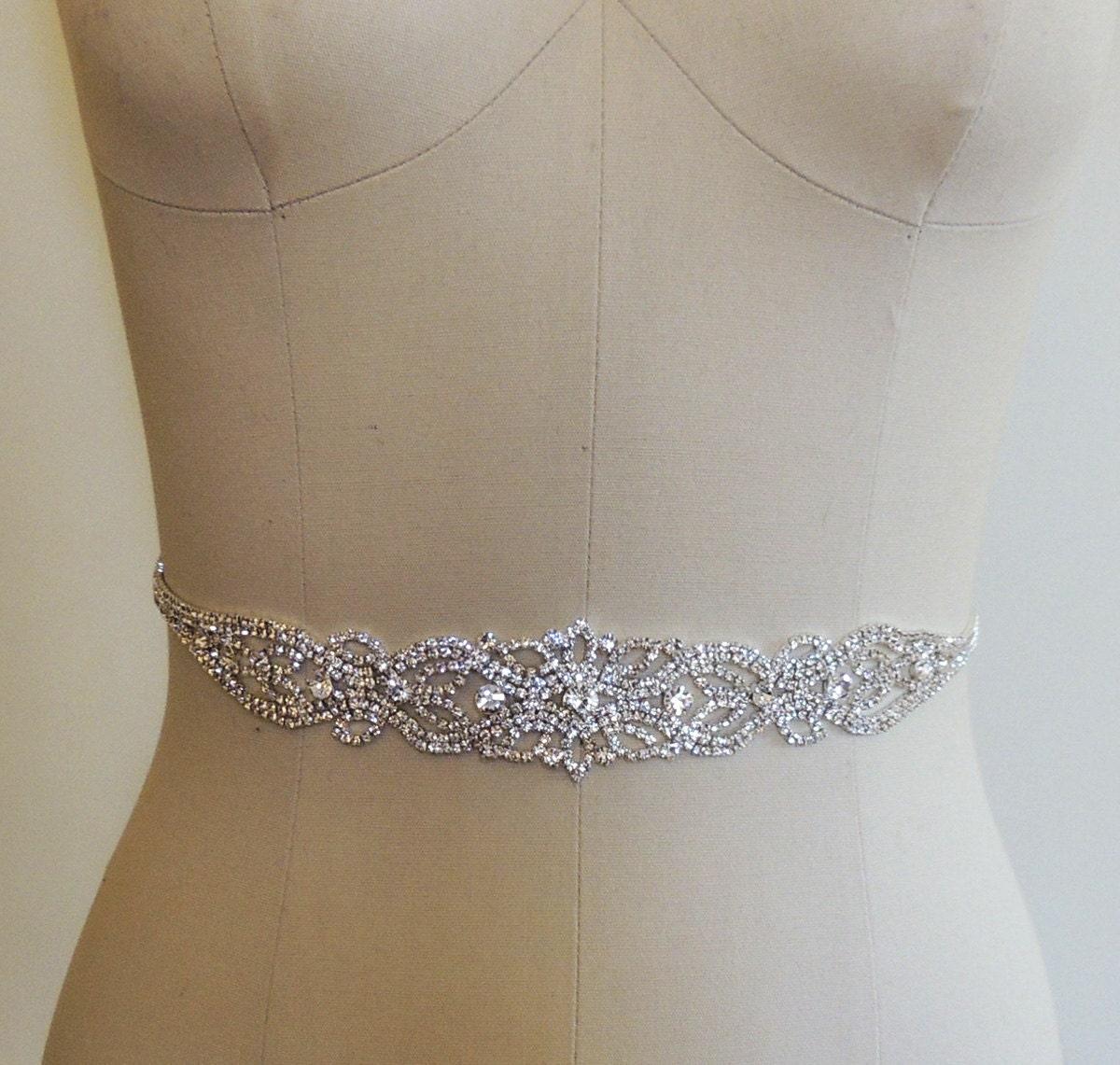 beaded bridal belt sash rhinestone wedding gown sash