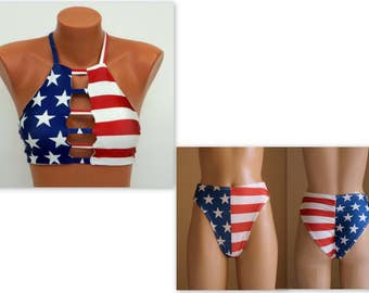 PADDED American flag strappy top and scrunch butt cheeky high cut high waisted bottoms-Swimsuit-July 4th bikini-Bathing suit-XS-S-M-L-XL