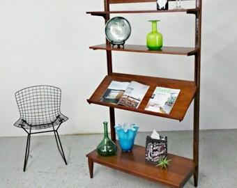 mid century modern adjustable walnut wall unit display room divider bookcase