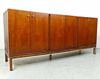 mid century modern American Of Martinsville walnut credenza sideboard media cabinet
