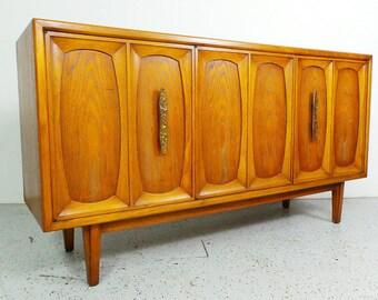 mid century modern Drexel Heritage 3 door walnut & cypress inlay credenza sideboard media cabinet