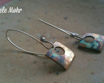 Flame Painted Copper and Sterling Silver Earrings