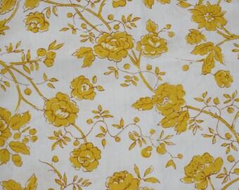Vintage Unused Pillow Case, Mustard Yellow Flower King Size Pillowcase, Mod Retro Mid Century bedding NOS