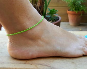 green anklet beach vibe citrus summer holiday surfing jewellery seed beads
