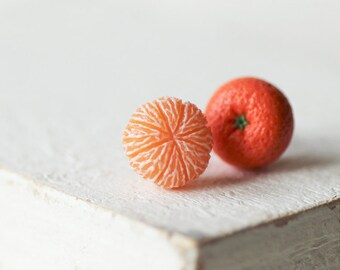 Mandarin Stud Earrings - Small Ear Studs - Earrings Post - Food Jewelry - Vegan Earrings