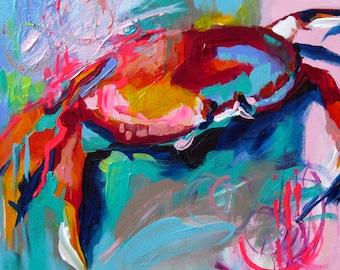 Crab Art, Crab Painting, Colorful Crab, Pop Art Crab, Abstract Crab, Sea Life Art, Sally Lightfoot, Canvas Giclee