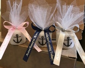 Nautical Baby Shower, Wedding favor, Bridal Shower Favors, Nautical Themed Party favors, Anchor Votive  Candle, With Personalized Ribbon