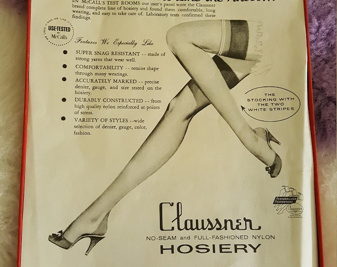 1 PR Beautiful Claussner Nylon Stockings Sz 8 1/2 Medium Coffee Color Never Worn