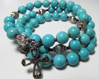 Turquoise Blue 5 Decade Rosary bracelet, Magnesite beads, Wrap Rosary, memory wire, Five decade Rosary bracelet -184