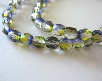 6mm Faceted Round Green Purple Czech Glass Beads Olivine Amethyst 33pcs