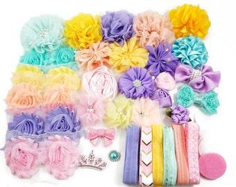 DIY 50 pcs Flower Headband Kit - Pink/Yellow/Aqua/Lavender/Peach - Flower Headband Kit- Baby Shower/Holidays/Birthday/Craft Supplies Kit