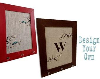 Large Burlap Cork Board - Bird and Branch Design - Custom - Design Your Own Distressed Framed Message Board-Pin Board-Bulletin Board-24x30