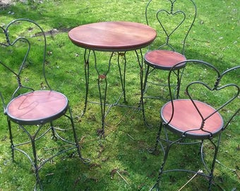 Vintage 1938 Heart back Bistro / Ice cream parlor set