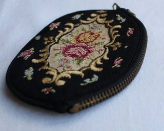 Stunning Vintage EMBROIDERED Silk Coin PURSE on Black background.Made in GERMANY