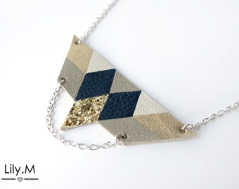 Breastplate necklace short leather, Midnight Blue and gold RIHA, Lily.M