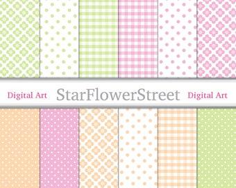 Spring Digital Paper pink digital paper green peach polka dot gingham flower pattern printable scrapbook pink and green baby girl download