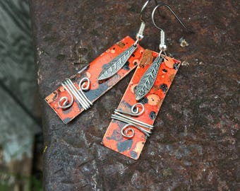 Wild Fire Mixed Metal Bar Earrings