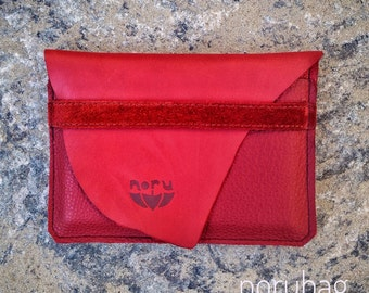 Strawberry wallet, red softleather big wallet, streetstyle, elegant. Two slots, ideal for everyday use. Vibrand red recycled leather.