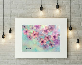 Baby Girl Room Decor Nursery Girl Toddler Gift for Mom Pink Wall Art Cherry Blossoms Painting Flowers Watercolor Artwork Floral Watercolor