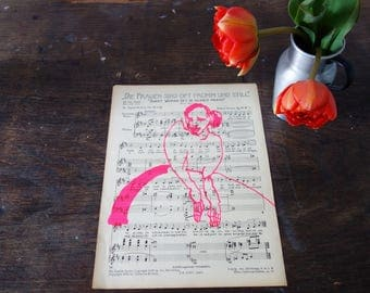 FROMM, printing woman in neonpinker paint on an old sheet music, music