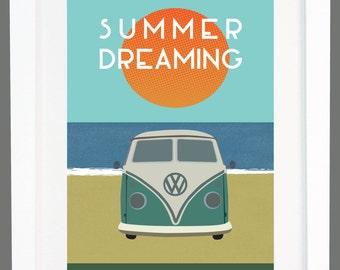 VW Split Screen Camper Van Beach 'Summer Dreaming' Poster Print