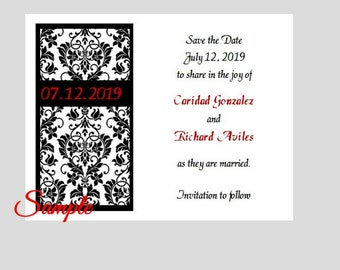 100 Personalized Custom Damask Wedding Bridal Save the Date Cards Announcement + envelopes