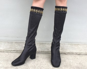 1960s Golo black satin stretch go go boots with brass embellishments on the cuffs - size 6 - 60s black mod boots - 1960s gogo boots