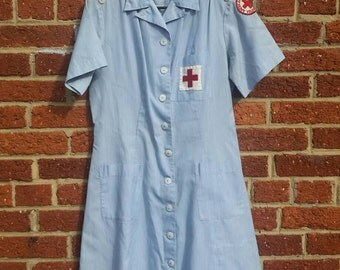 Vintage Red Cross Nurse Dress Uniform // 40s 50s Mercantile Uniforms New York Size 16
