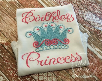 Custom Birthday Princess Crown Shirt - Customizable -  Infant to Youth 62a