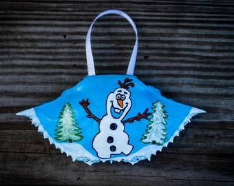 Olaf Painted Christmas Ornament, Painted Crab Shell, Ornament, Crab Shell Ornament