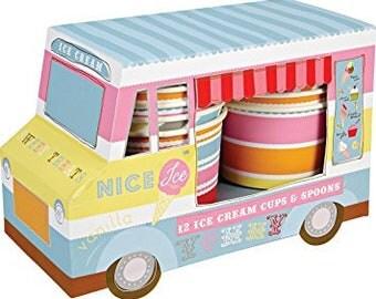 Ice Cream Van Ice Cream Cups - party pastel banner dessert birthday