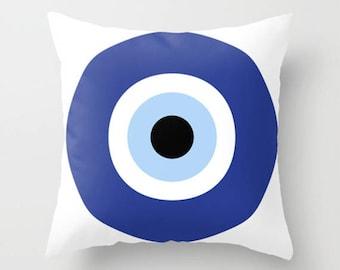 """evil eye, blue, cushions, cushion cover, pillow covers. 16"""" x 16"""" (40 x 40 cm), 18"""" x 18"""" (45 x 45 cm), 20"""" x 20"""" (50 x 50 cm) or 24"""" x 24""""."""