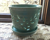 Large Handmade Orchid Pot in Misty Green Porcelain