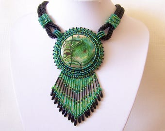 Statement necklace - Beadwork Bead Embroidery Pendant Necklace with Green Fire Agate - green and black necklace - Big pendant necklace