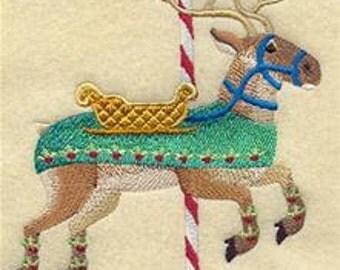 Carousel Christmas Victorian Reindeer Embroidered Towel | Flour Sack Towel | | Dish Towel | Kitchen Towel | Hand Towel
