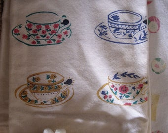 Vintage Tea Towels, set of two with pompoms