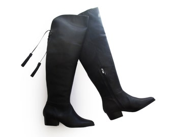 Black high boots, knee high boots for women, Womens black boots, Leather Boots, Boots sale, Heel boots, Ladies boots, Tassels boots