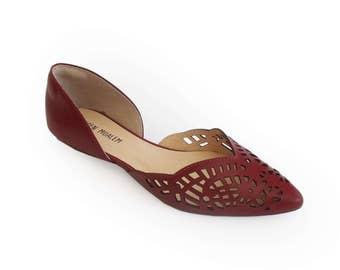 Ballerina shoes, Maroon womens shoes, Flat shoes for women, Leather shoes, Women's shoes, Laser cut shoes, Lace shape shoes, Summer shoes