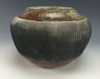 Metallic Red Copper Green White and Black Raku Ceramic Vase, Modern Home Decor, Unique Carved Clay Vessel, Southwestern