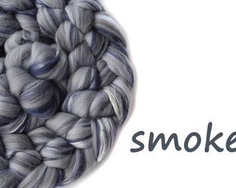 Blended tops - Spinning wool - Merino wool - Silk - 100g - 3.50z - SMOKE