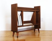 Mid Century Modern Walnut Dark Wood Bookrack Compact Bookshelf