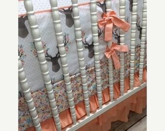 10% OFF FLASH SALE Girl Crib Bedding in Peach and Aqua Stag fabric, Modern, Metallic, Stripe, girl bedding, shower gift