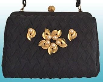 Black box evening bag / top handle bag / formal handbag / special occasion bag / after 5 purse / vintage evening bag