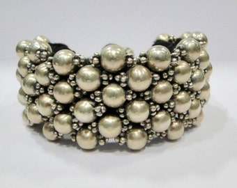 Vintage Antique Ethnic Tribal Old Silver Beads Bracelet Bangle India